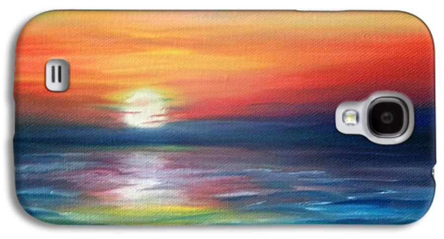 Sunrise Galaxy S4 Case featuring the painting First Light by Lora Duguay