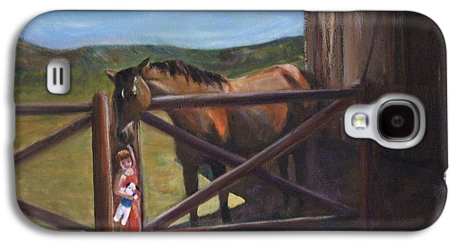 Horse Galaxy S4 Case featuring the painting First Love by Darla Joy Johnson