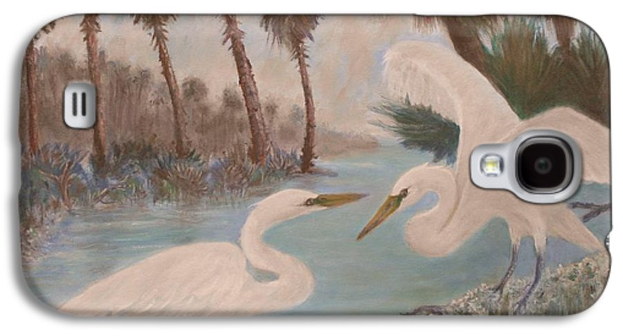 Egret Galaxy S4 Case featuring the painting First Meeting by Ben Kiger
