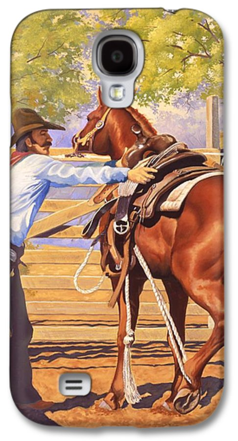 Cowboy Galaxy S4 Case featuring the painting First Saddling by Howard Dubois