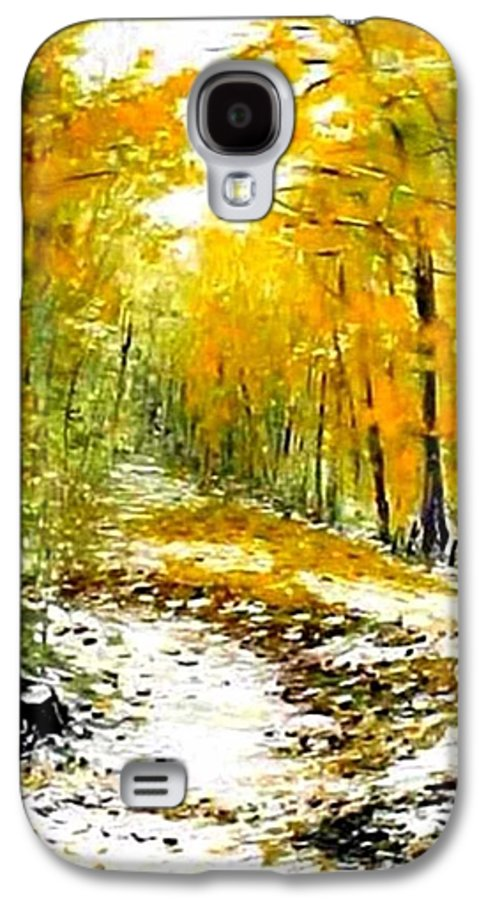 Landscape Galaxy S4 Case featuring the painting First Snow by Boris Garibyan