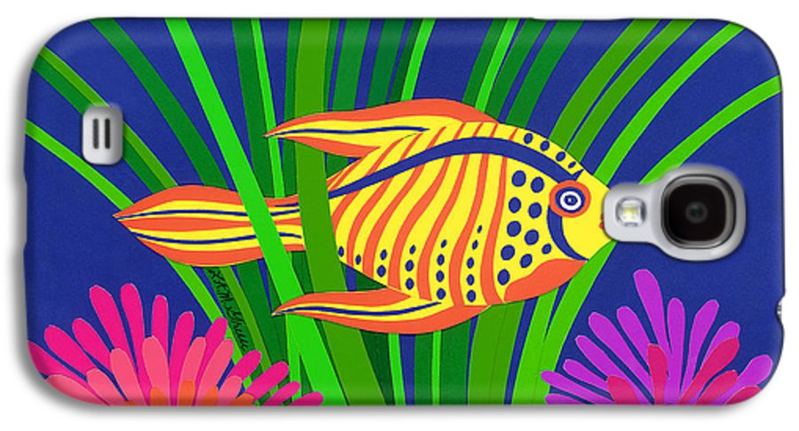Nature Galaxy S4 Case featuring the drawing Fish by Lucyna A M Green