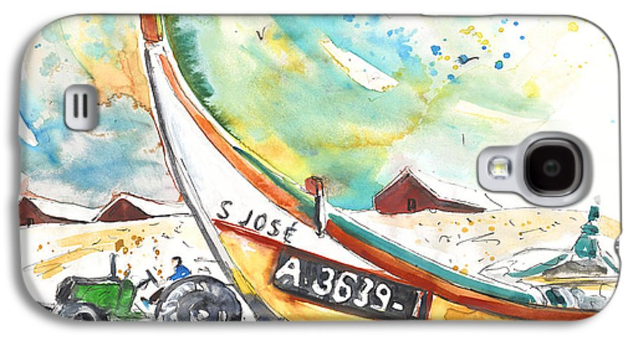Portugal Galaxy S4 Case featuring the painting Fisherboat In Praia De Mira by Miki De Goodaboom