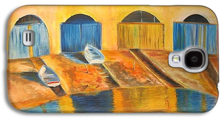 Boats Galaxy S4 Case featuring the painting Fishermens Boats At Sundown by Lizzy Forrester