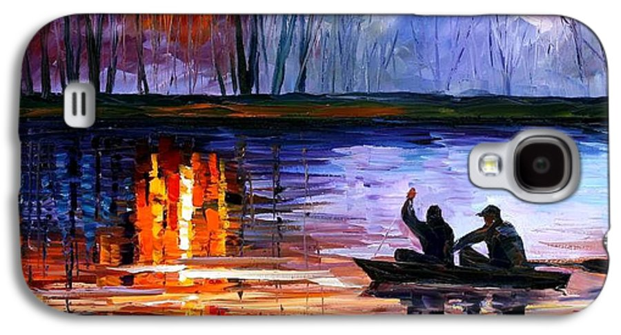 Seascape Galaxy S4 Case featuring the painting Fishing On The Lake by Leonid Afremov