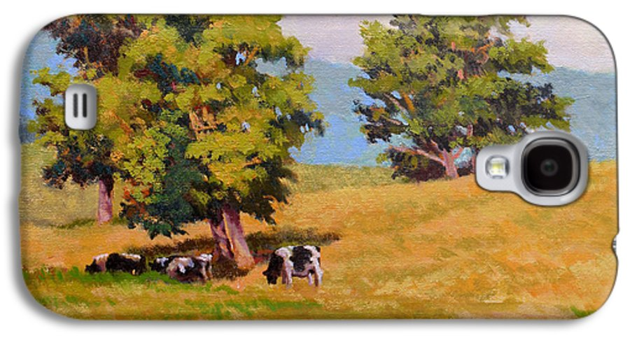 Landscape Galaxy S4 Case featuring the painting Five Oaks by Keith Burgess