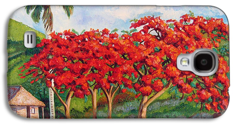 Cuban Art Galaxy S4 Case featuring the painting Flamboyans by Jose Manuel Abraham