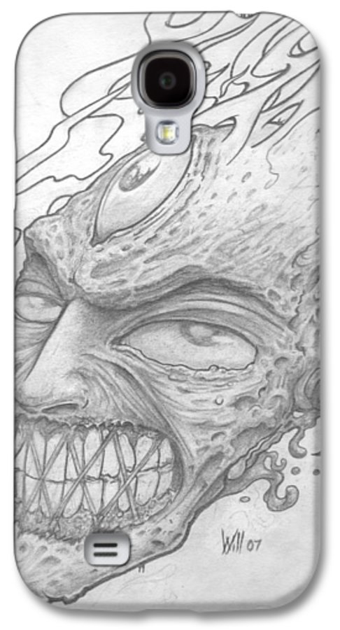 Zombie Galaxy S4 Case featuring the drawing Flamehead by Will Le Beouf
