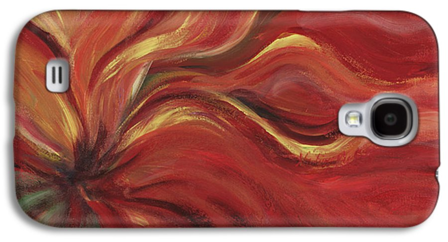 Red Galaxy S4 Case featuring the painting Flaming Flower by Nadine Rippelmeyer