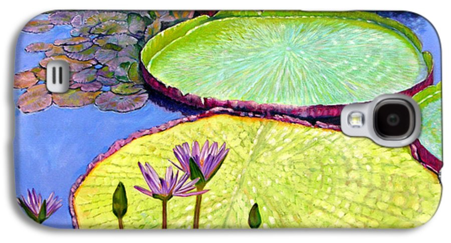 Garden Pond Galaxy S4 Case featuring the painting Floating Galaxies by John Lautermilch