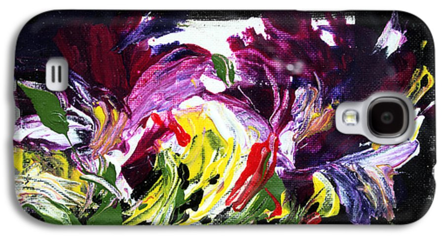 Abstract Galaxy S4 Case featuring the painting Floral Flow by Mario Zampedroni