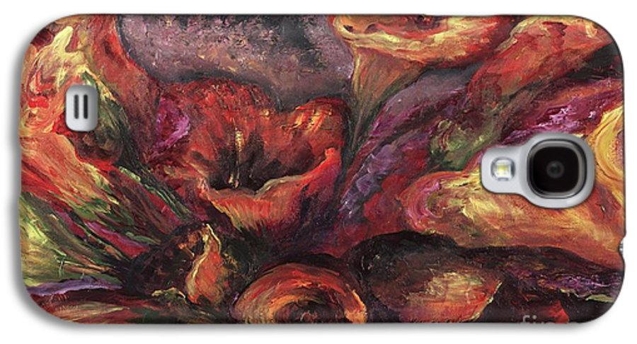 Calla Lilies Galaxy S4 Case featuring the painting Floral Sun Worship by Nadine Rippelmeyer