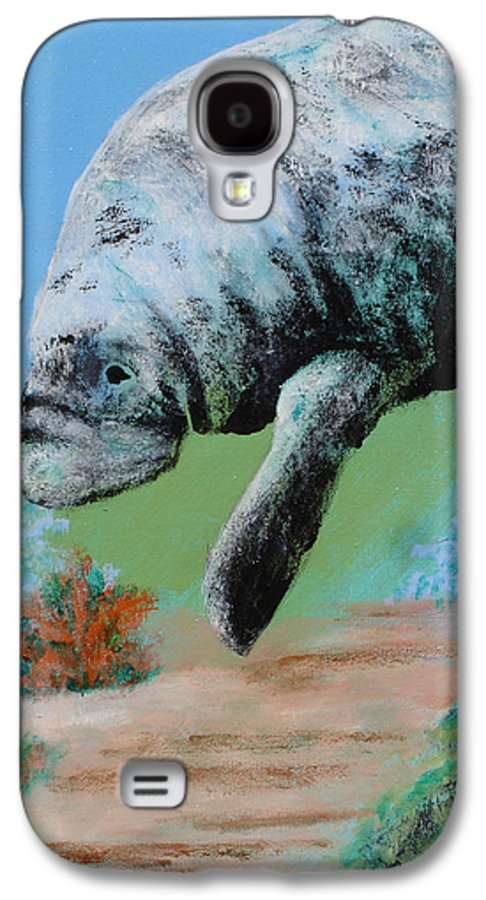 Florida Galaxy S4 Case featuring the painting Florida Manatee by Susan Kubes