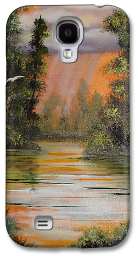 Landscape Galaxy S4 Case featuring the painting Florida Thunderstorm by Susan Kubes