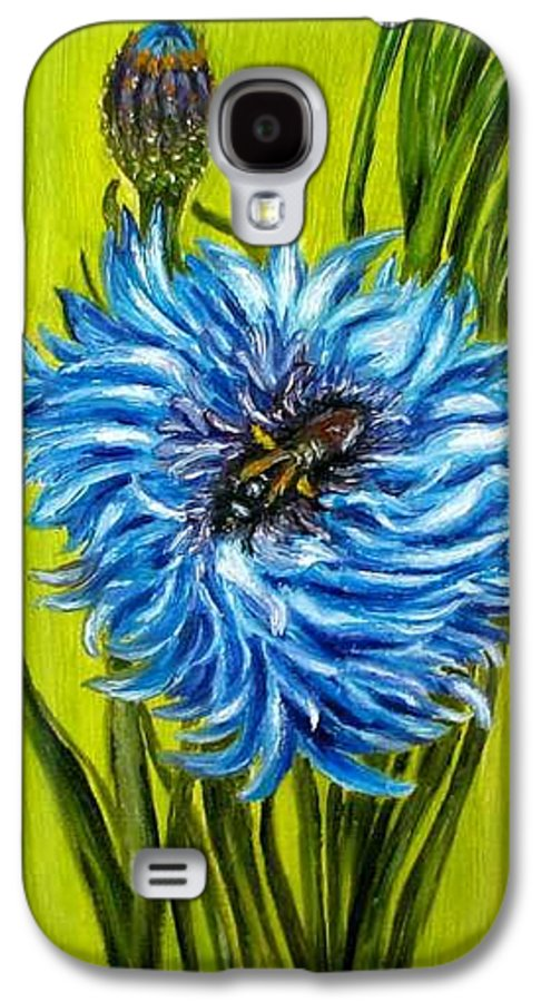 Flower Galaxy S4 Case featuring the painting Flower And Bee Oil Painting by Natalja Picugina