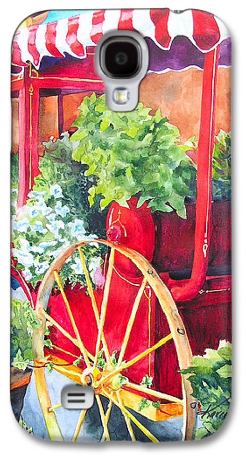 Floral Galaxy S4 Case featuring the painting Flower Wagon by Karen Stark