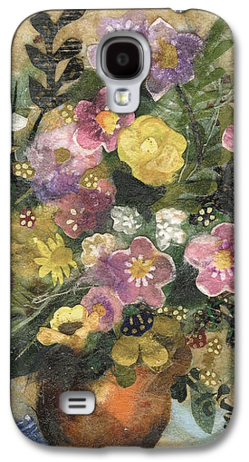 Limited Edition Prints Galaxy S4 Case featuring the painting Flowers In A Clay Vase by Nira Schwartz