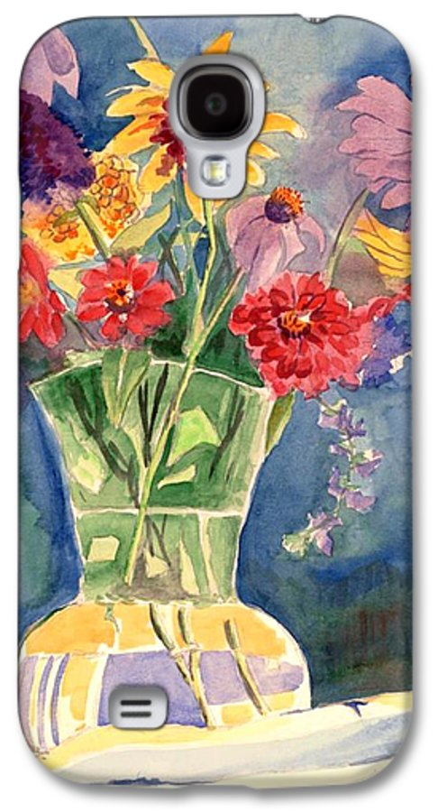 Flowers In Glass Vase Galaxy S4 Case featuring the painting Flowers In Glass Vase by Judy Swerlick