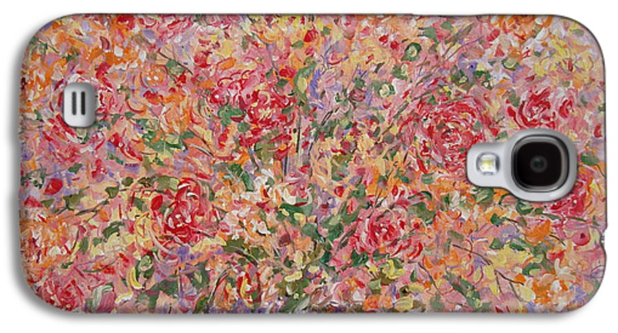 Flowers Galaxy S4 Case featuring the painting Flowers In Purple Vase. by Leonard Holland