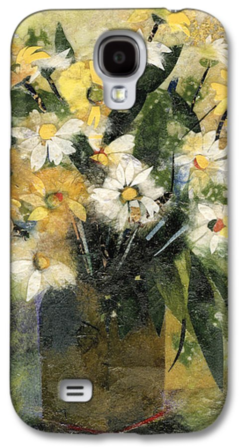 Limited Edition Prints Galaxy S4 Case featuring the painting Flowers In White And Yellow by Nira Schwartz