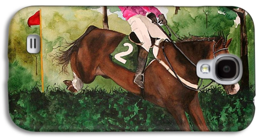 Horse Galaxy S4 Case featuring the painting Flying High by Jean Blackmer