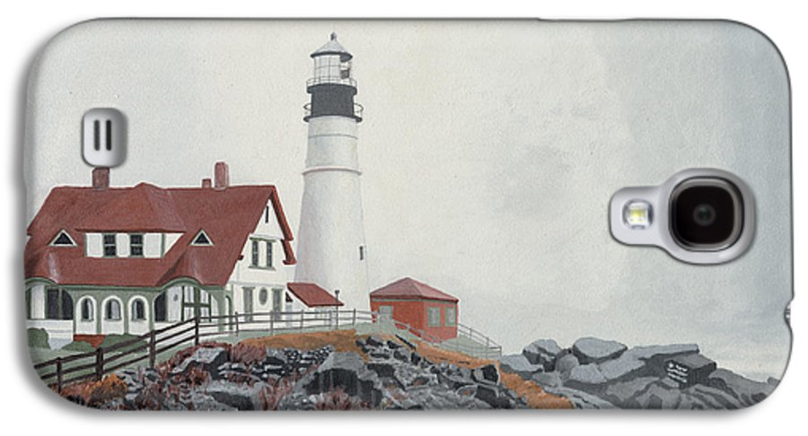 Lighthouse Galaxy S4 Case featuring the painting Fog Approaching Portland Head Light by Dominic White