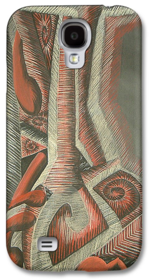 Abstract Galaxy S4 Case featuring the drawing Foot by Donald Burroughs