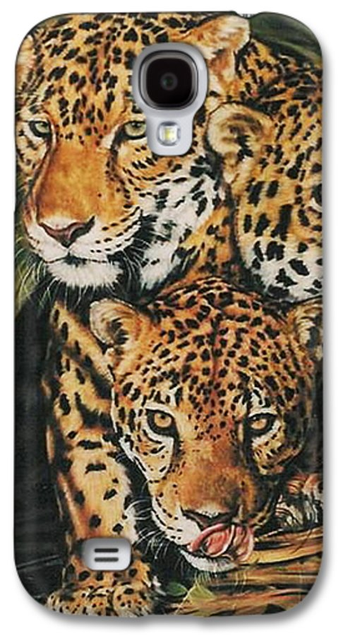 Jaguar Galaxy S4 Case featuring the pastel Forest Jewels by Barbara Keith