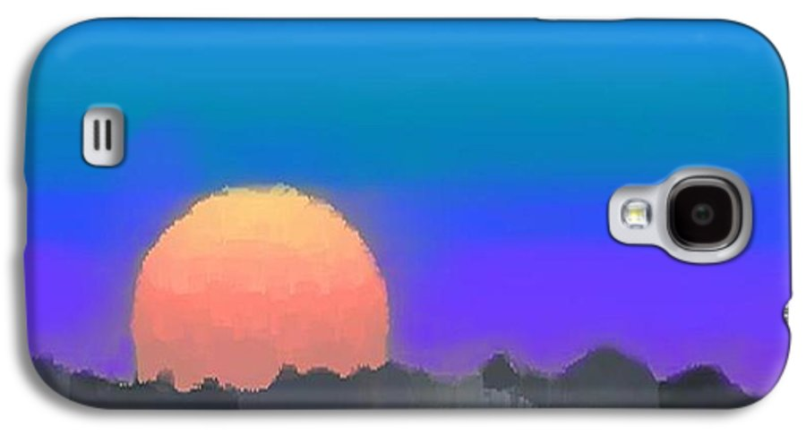 Evenung.sunset.sky.sun.background Forest.silence.rest Galaxy S4 Case featuring the digital art Forest Sunset. by Dr Loifer Vladimir