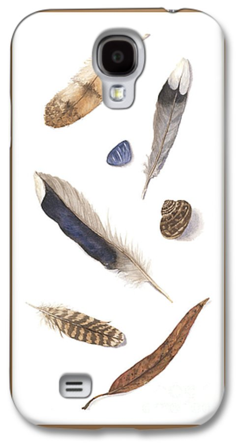 Feathers Galaxy S4 Case featuring the painting Found Treasures by Lucy Arnold
