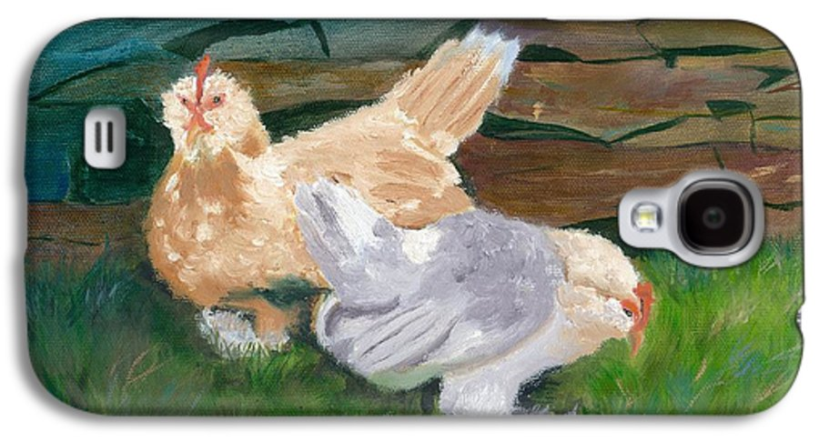 Chickens Bantams Countryside Stonewall Farm Galaxy S4 Case featuring the painting Fowl Play by Paula Emery
