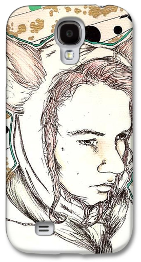 Ears Fow Star Boy Portrait Red Galaxy S4 Case featuring the drawing Fox by Freja Friborg