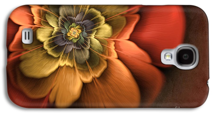 Flame Fractal Galaxy S4 Case featuring the digital art Fractal Pansy by John Edwards