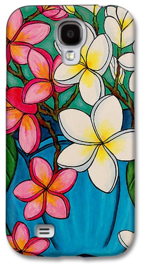 Frangipani Galaxy S4 Case featuring the painting Frangipani Sawadee by Lisa Lorenz