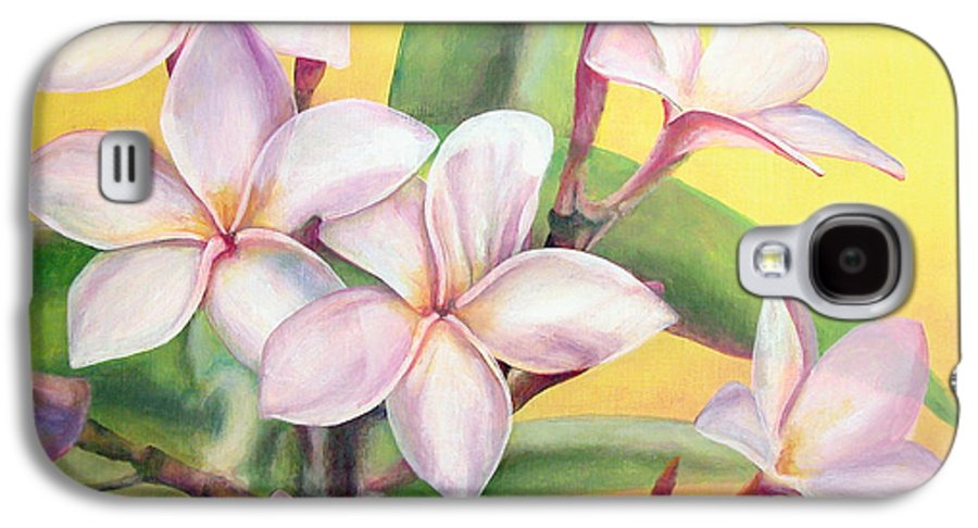 Floral Painting Galaxy S4 Case featuring the painting Frangipanier by Muriel Dolemieux