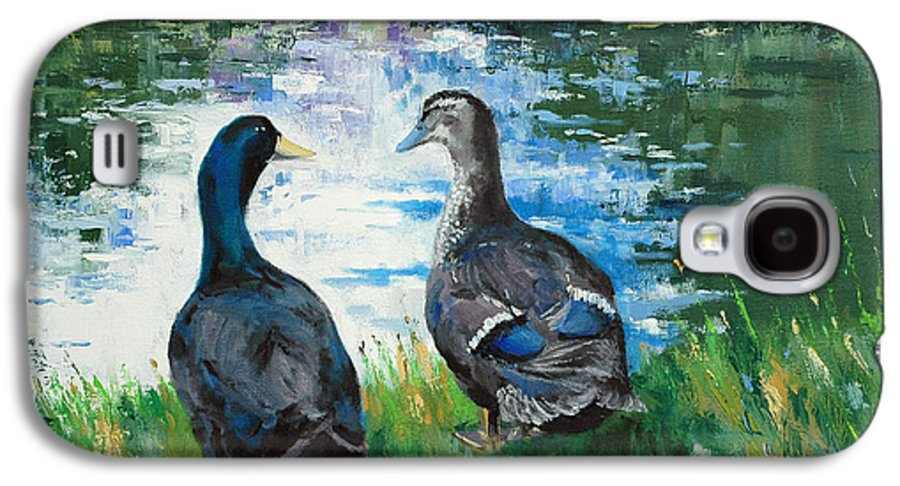 Ducks Galaxy S4 Case featuring the painting Fred And Ethel At Scott's Pond by Glenn Secrest