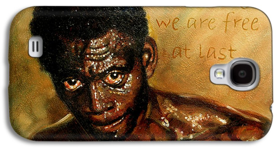 People Galaxy S4 Case featuring the painting Free At Last by John Lautermilch
