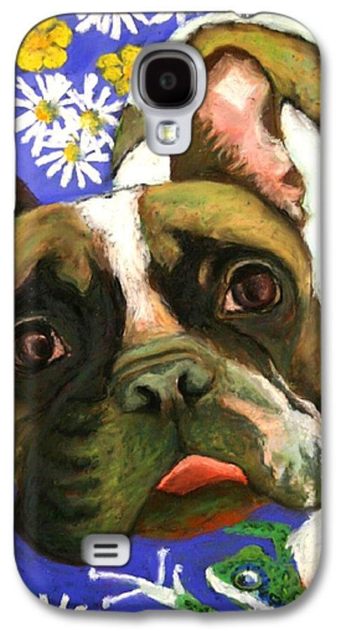 Pet Portrait Galaxy S4 Case featuring the painting Frenchie Plays With Frogs by Minaz Jantz