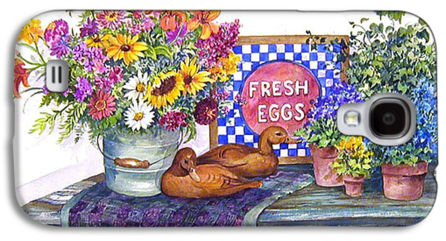 Watercolor;ducks;decoys;floral;mixed Bouquet;potted Plants;checkerboard;quilt; Galaxy S4 Case featuring the painting Fresh Eggs by Lois Mountz