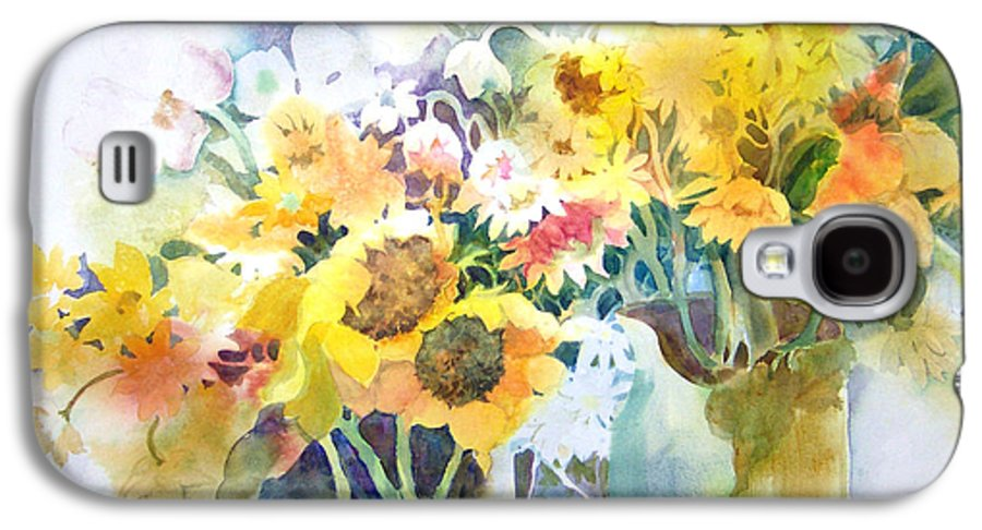 Contemporary;watercolor;sunflowers;daisies;floral; Galaxy S4 Case featuring the painting Fresh-picked by Lois Mountz
