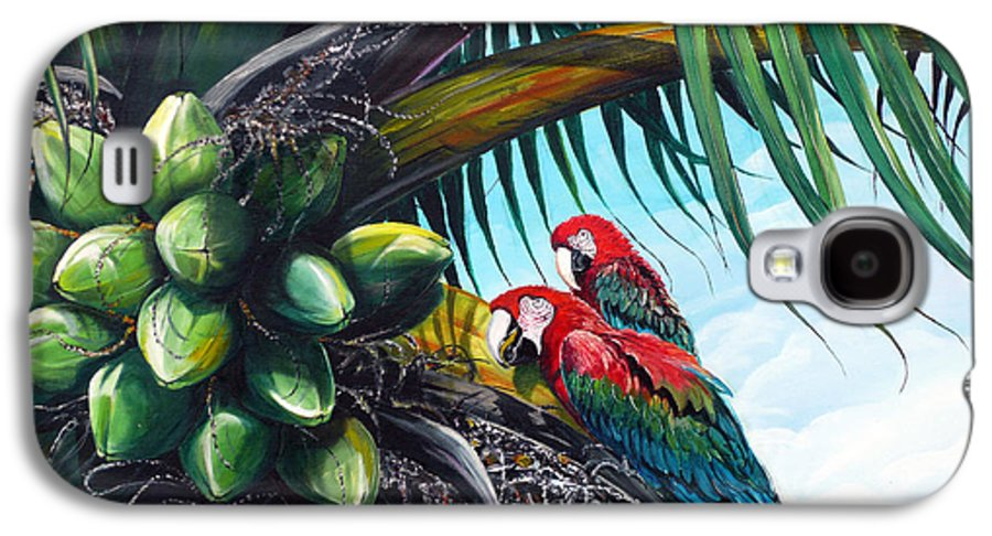 Macaws Bird Painting Coconut Palm Tree Painting Parrots Caribbean Painting Tropical Painting Coconuts Painting Palm Tree Greeting Card Painting Galaxy S4 Case featuring the painting Friends Of A Feather by Karin Dawn Kelshall- Best