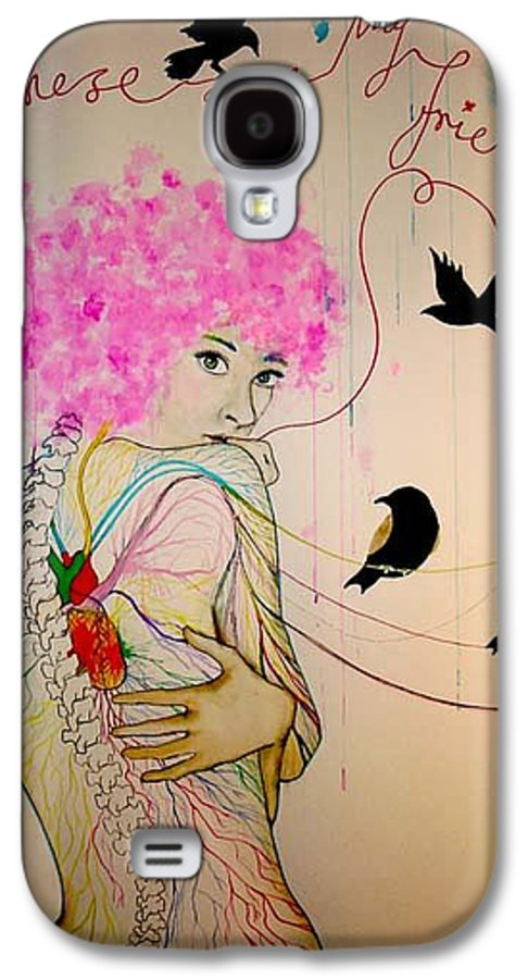 Bird Heart Veins Galaxy S4 Case featuring the drawing Friends With Birds by Freja Friborg