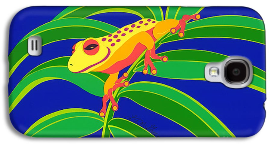 Nature Galaxy S4 Case featuring the drawing Frog On Branch by Lucyna A M Green
