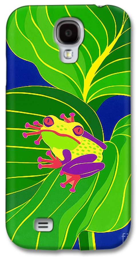 Nature Galaxy S4 Case featuring the drawing Frog On Leaf by Lucyna A M Green
