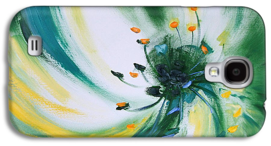 Green Galaxy S4 Case featuring the painting From The Heart Of A Flower Green by Gina De Gorna