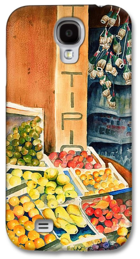 Fruit Shop Window Galaxy S4 Case featuring the painting Fruit Shop In San Gimignano by Judy Swerlick