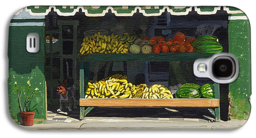Market In Puerto Vallarta Mexico. Dog Added. Galaxy S4 Case featuring the painting Frutas Y by Michael Ward