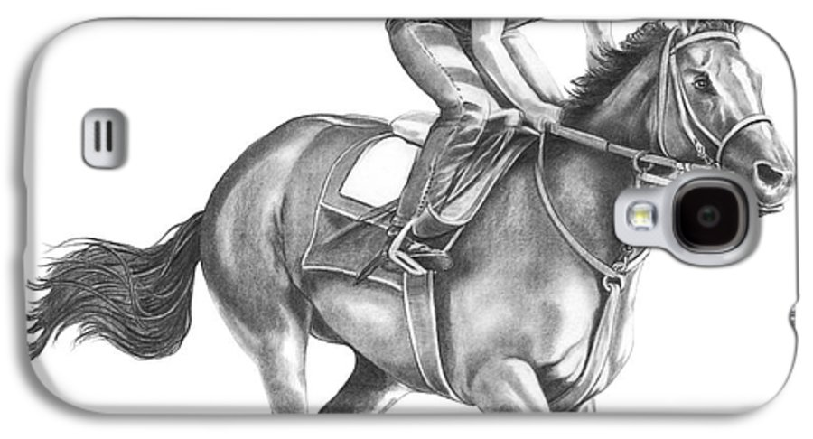 Horse Galaxy S4 Case featuring the drawing Full Gallop by Murphy Elliott
