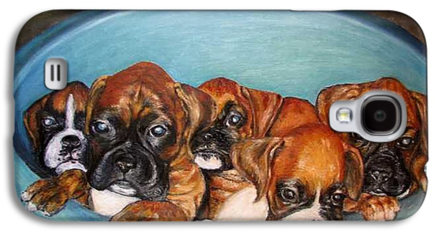 Oil Galaxy S4 Case featuring the painting Funny Puppies Orginal Oil Painting by Natalja Picugina
