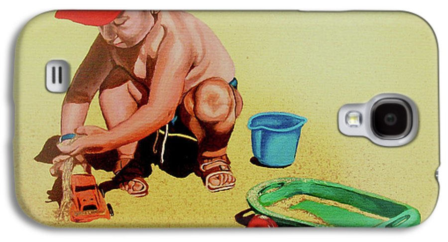 Beach Galaxy S4 Case featuring the painting Game At The Beach - Juego En La Playa by Rezzan Erguvan-Onal